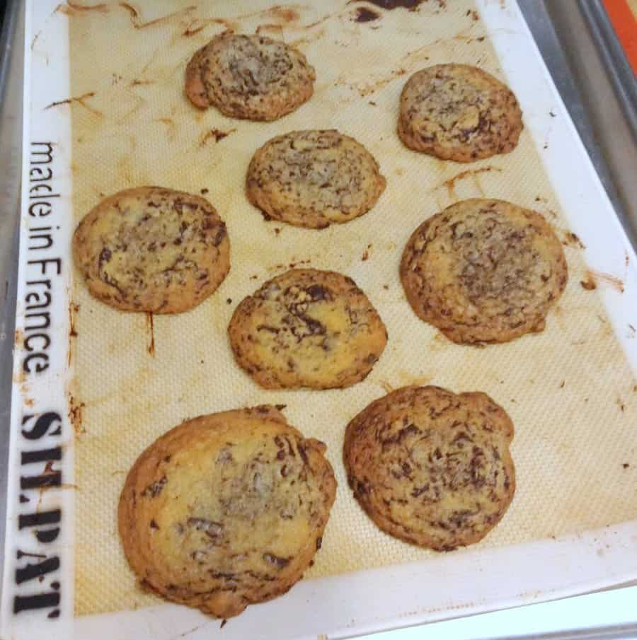 Thomas Keller's chocolate chip cookies have two kinds of chocolate, and they rest overnight for a richer, more complex flavor.