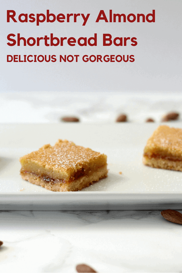 If you're looking for a special occasion bar cookie, these layered almond shortbread bars are perfect. #raspberry #almond #shortbread #barcookies