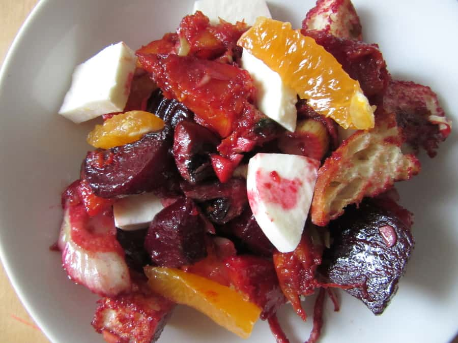 Roasted vegetables, pickled carrots, oranges, garlicky croutons and fresh mozzarella make up this winter panzanella perfect for when summery tomatoes are out of season.