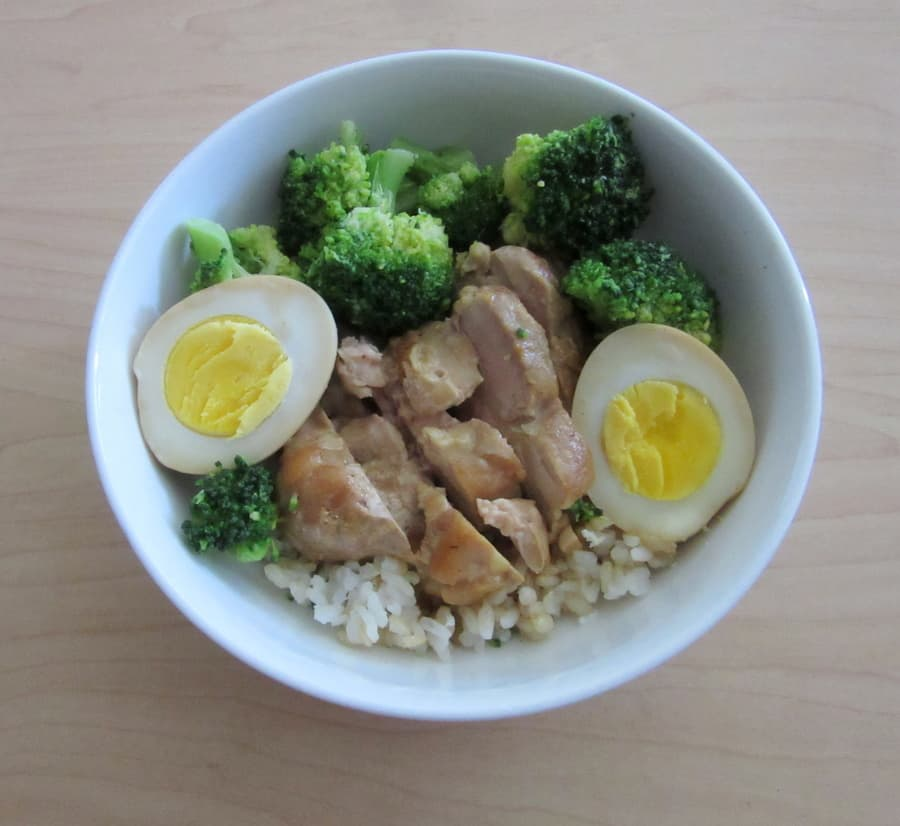 Coconut milk chicken adobo is a comforting Filipino dish, made of a creamy coconut milk based sauce with chicken and hard-boiled eggs, perfect over rice.