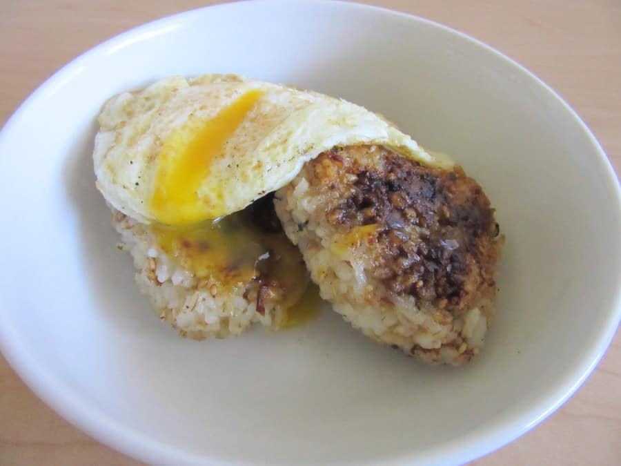 Yaki onigiri are Japanese pan-fried rice balls that can be flavored with anything. The insides stay tender, while the outsides brown and crisp up.