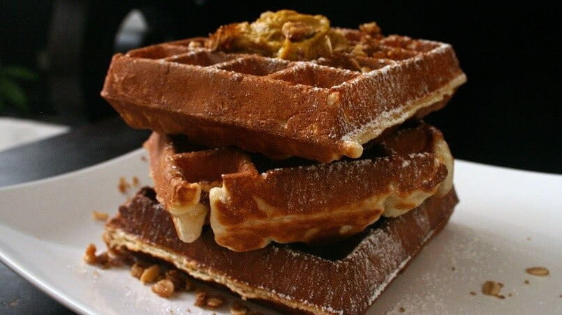 The spiced pumpkin butter and brown sugar walnut crumble are good, but they're nothing without a base of slightly crispy, tender on the inside waffles. #waffles #pumpkin #walnuts #streusel #brunch