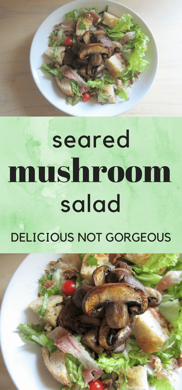 This seared mushroom salad isn't the kind of salad to toss a few lettuce leaves at you and call it a day. It has croutons and prosciutto and plenty of vegetables to keep you actually full. #mushrooms #salad #croutons #prosciutto