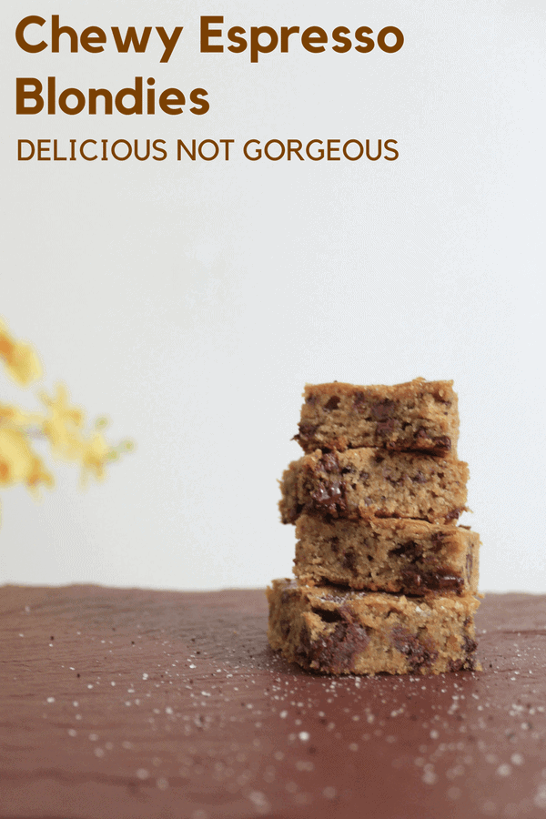 These chewy espresso blondies are dense and caramelly and chocolate like a traditional blondie should be, but they also have a sprinkling of espresso salt to cut through that richness. #espresso #chocolate #blondies #dessert