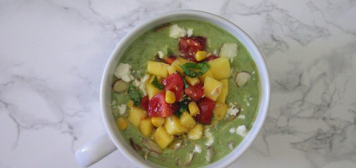 This avocado cucumber soup with mango salsa is perfect for summer. It's cold and refreshing, and lets all that great summer produce shine.