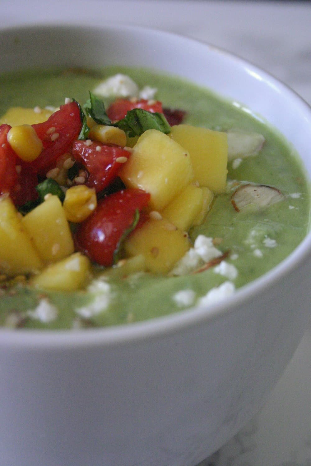 Avocado Cucumber Soup with Mango Salsa - Delicious Not ...