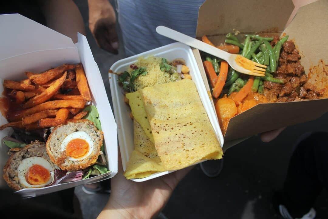 Scotch egg, dosa and Ethopian food for lunch from Borough Market in London. #london #boroughmarket #dosa #scotchegg #ethiopianfood