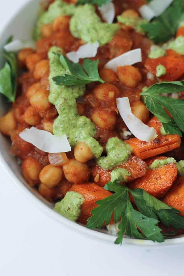 Chickpea Curry Bowls With Carrots And Cilantro Sauce