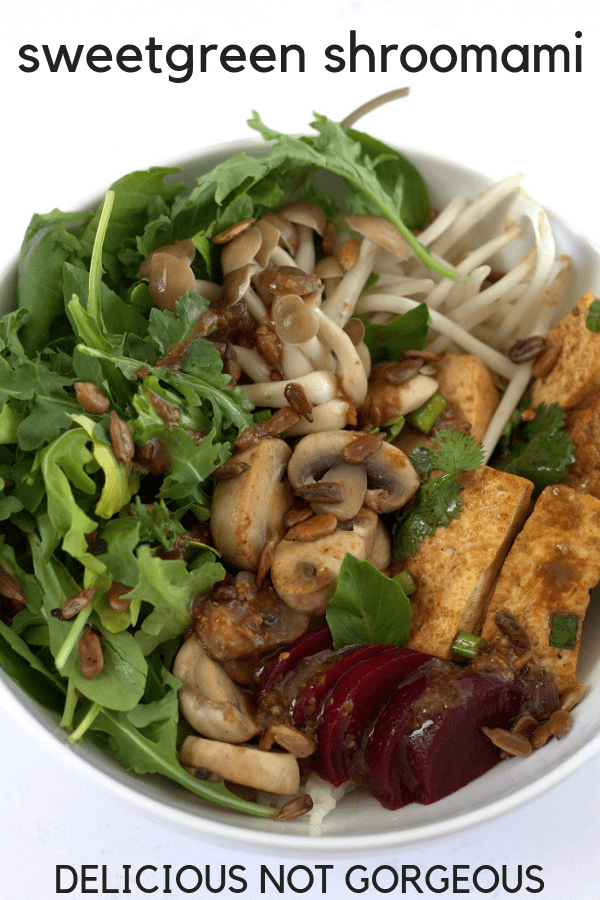 This sweetgreen Shroomami rice bowl has tons of veggies and an addictive miso ginger dressing. #ricebowls #mushrooms #lunch #asian