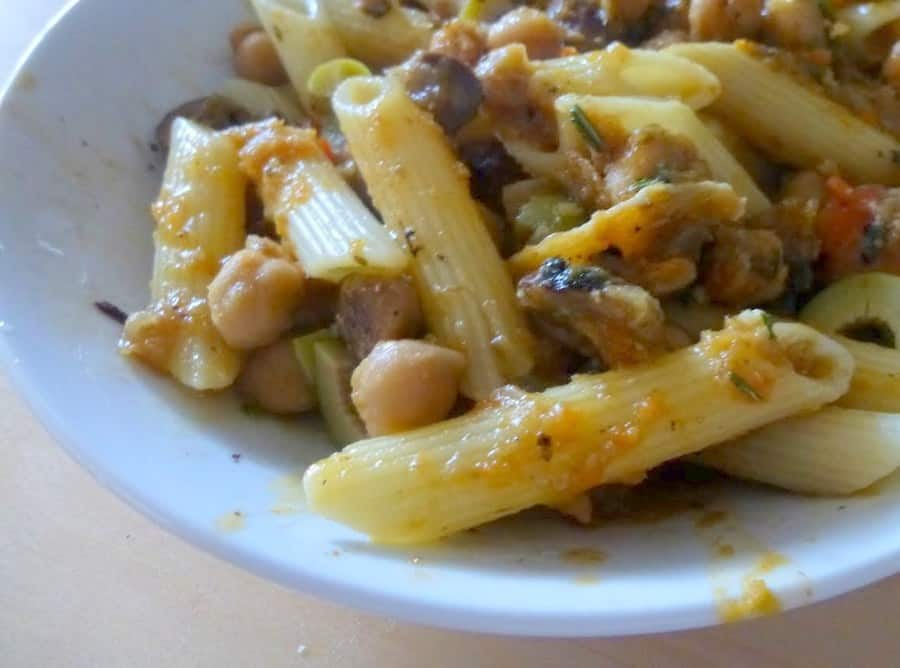 This garlic and rosemary infused penne with chickpeas has a chunky chickpea sauce filled with tender, sauteed vegetables.