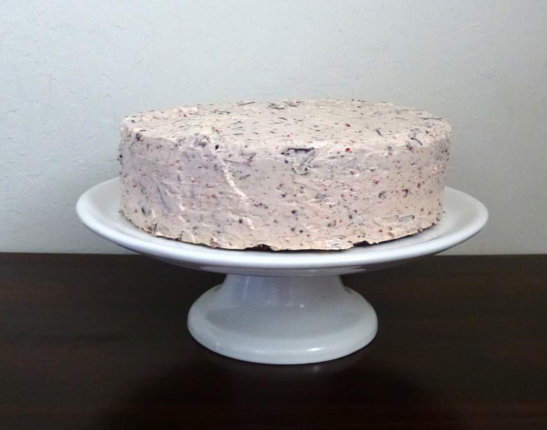 this cherry garcia cake, aka a black forest cake, has dark chocolate cake, fresh cherries, and cherry swiss meringue buttercream.