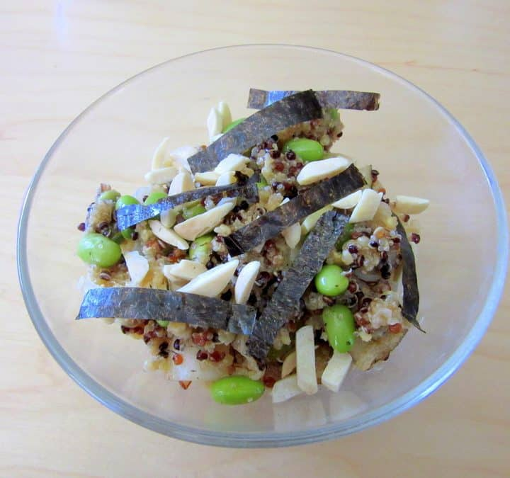 Unusual perhaps, but this kimchi quinoa salad with Asian pear, edamame and nori is delicious all the same.