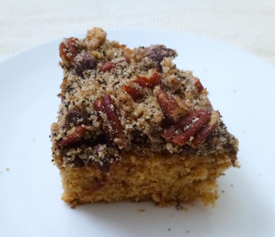 This pecan chocolate espresso cake is a moist, espresso-flavored coffee cake with a pecan chocolate streusel