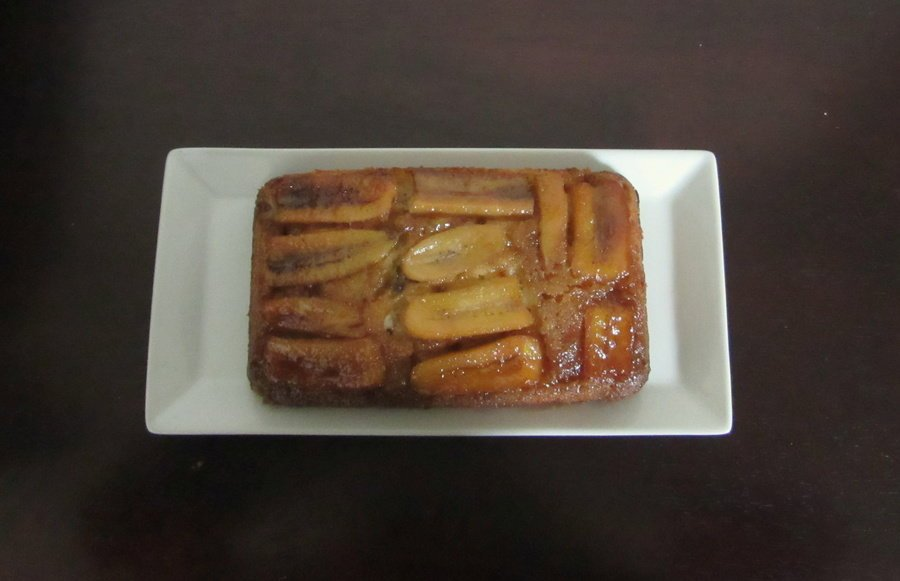 This caramel banana upside down cake has tender cake topped with bananas caramelized in butter and brown sugar.