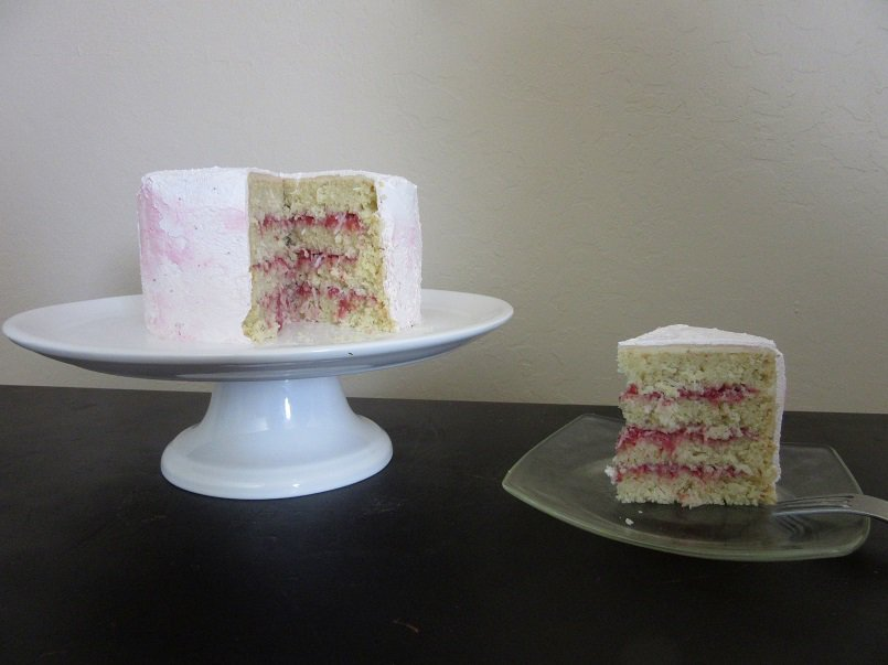Coconut Cake with Strawberry Compote and Pink Swiss Meringue Buttercream | Delicious Not Gorgeous