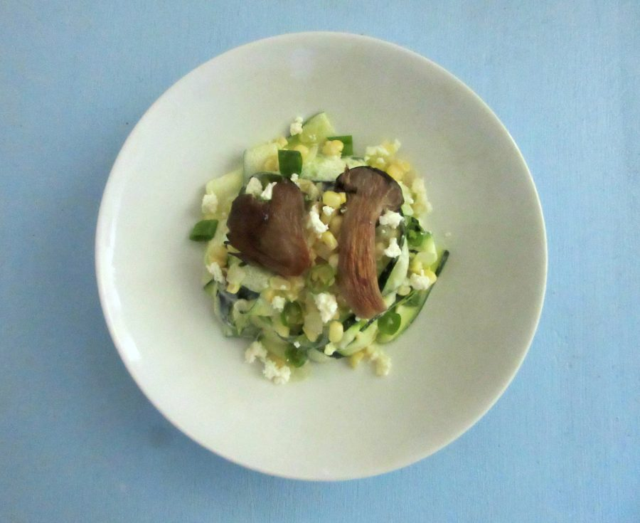 This creamy corn and oyster mushroom zucchini pasta features a creamy 3 ingredient Greek yogurt sauce and plenty of summer veggies.