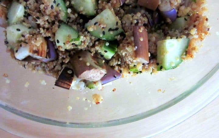 Miso Pilaf with Cucumber and Grilled Eggplant   Delicious Not Gorgeous