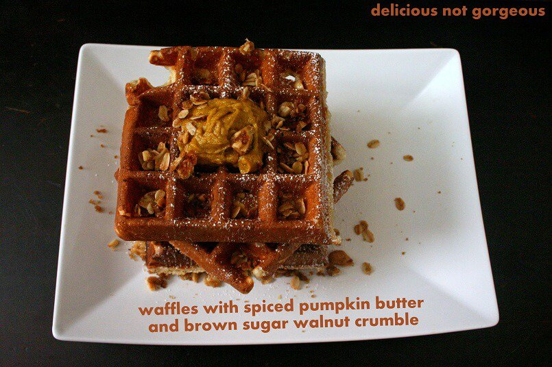 Silky spiced pumpkin butter goes super well with the crunchy brown sugar walnut crumble and crispy/tender waffles. #waffles #pumpkin #walnuts #streusel #brunch