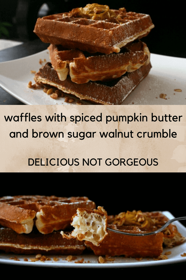 These waffles with spiced pumpkin butter and brown sugar walnut crumble are sure to satisfy your pumpkin cravings. #waffles #pumpkin #walnuts #streusel #brunch