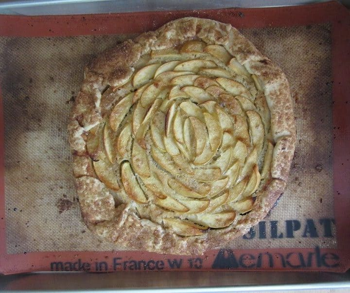 This apple, spiced pumpkin and frangipane galette is a delicious fall dessert when apples are at their peak, or for Thanksgiving! #apple #pumpkin #frangipane #galette #thanksgiving