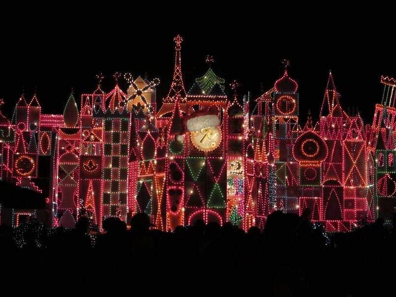 The holiday lights on It's a Small World at Disneyland during the holidays. #disneyland #itsasmallworld #holidaylights