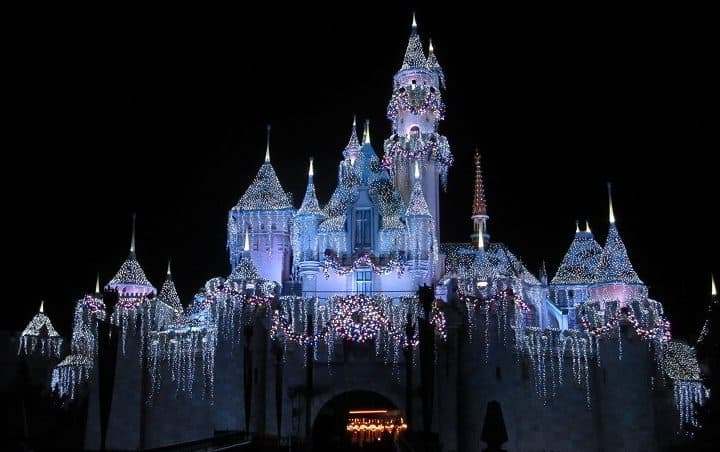 Holiday lights on Sleeping Beauty's Castle at Disneyland for the holidays. #disneyland #holidaylights #castle