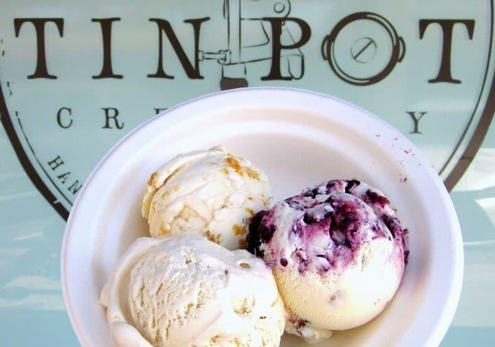 Apricot, blackberry jamble and earl grey ice cream from Tin Pot Creamery in Palo Alto, CA. #icecream #dessert #tinpotcreamery #paloaltoca