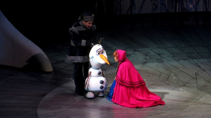 "Olaf and Anna in ""Frozen,"" live at the Hyperion in California Adventure 