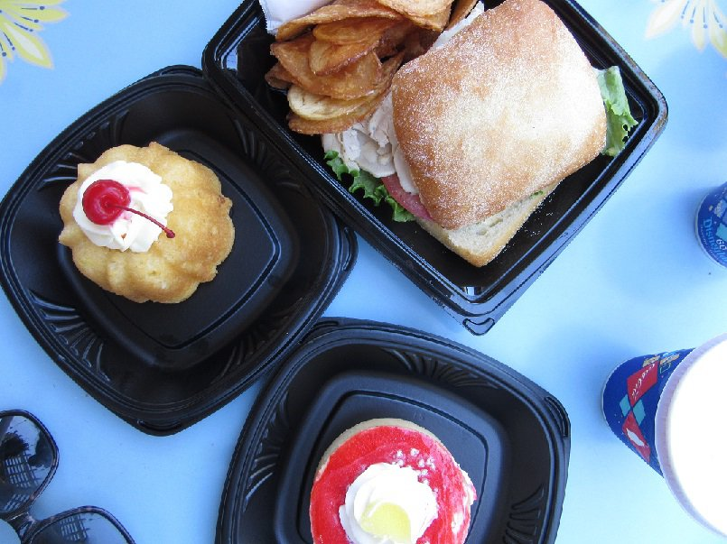Pineapple upside down cake, turkey sandwich and strawberry meyer lemon tart from Jolly Holiday Bakery, Disneyland | Delicious Not Gorgeous