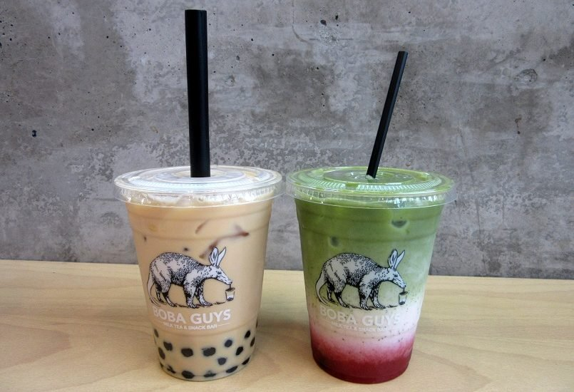 Jasmine pearl milk tea and strawberry matcha latte from Boba Guys in Hayes Valley, San Francisco | Delicious Not Gorgeous