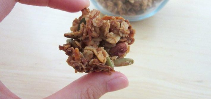 A close-up of this coconut almond cluster granola so you can see all the texture! #coconut #almond #granola #breakfast