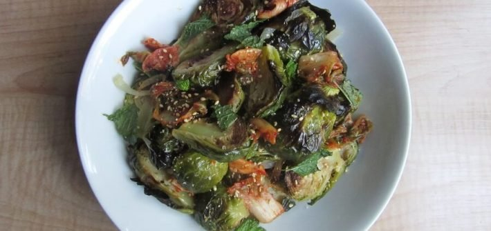 These roasted brussels sprouts with kimchi and ginger are the perfect side if you have an otherwise plain meal. #brusselssprouts #kimchi #ginger