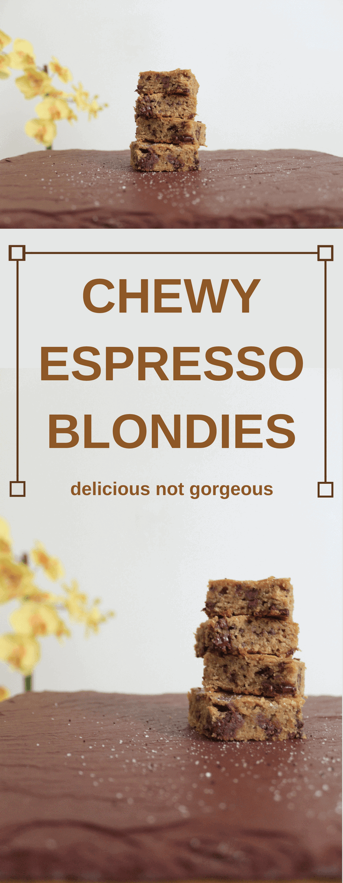 These chewy espresso blondies are as chewy as they sound, with no cakey texture in sight. #espresso #chocolate #blondies #dessert