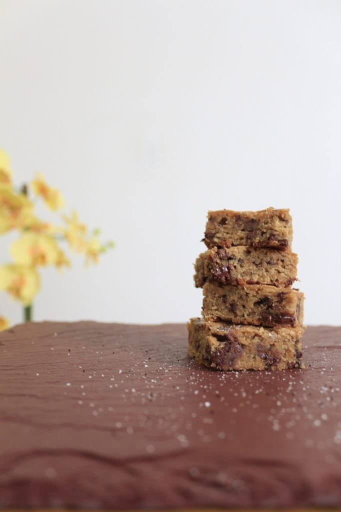 These chewy espresso blondies have a mix of milk and dark chocolate for maximum chocolate flavor, as well as a nice sprinkling of espresso salt on top. #espresso #chocolate #blondies #dessert