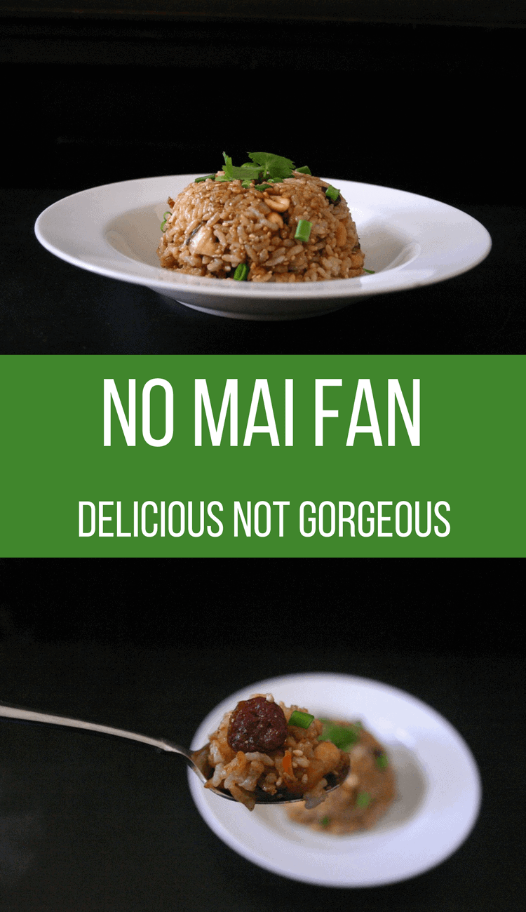 No mai fan, or Chinese sticky rice, is filled with crispy lap cheong (sausage), tender shiitake mushrooms and crunchy peanuts. #nomaifan #chinesestickyrice #chinese