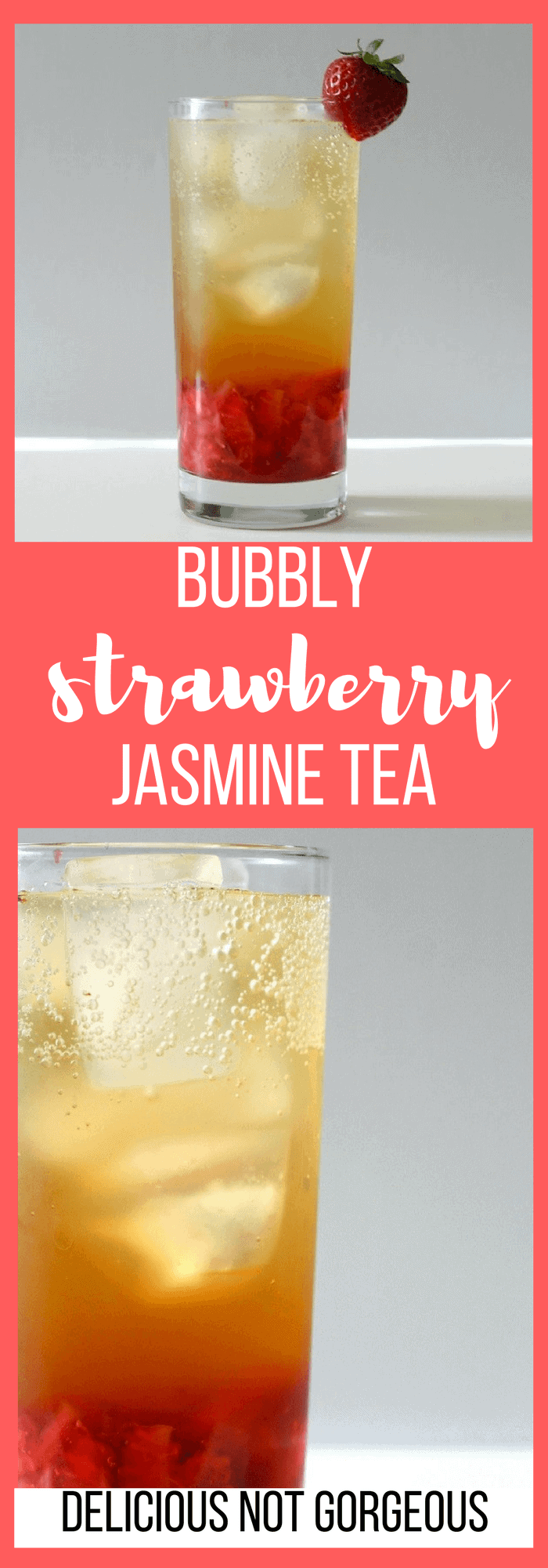 This bubbly strawberry jasmine tea features strong tea paired with plenty of summery sweet strawberries, topped off with sparkling water. #strawberry #jasminetea #nonalcoholic