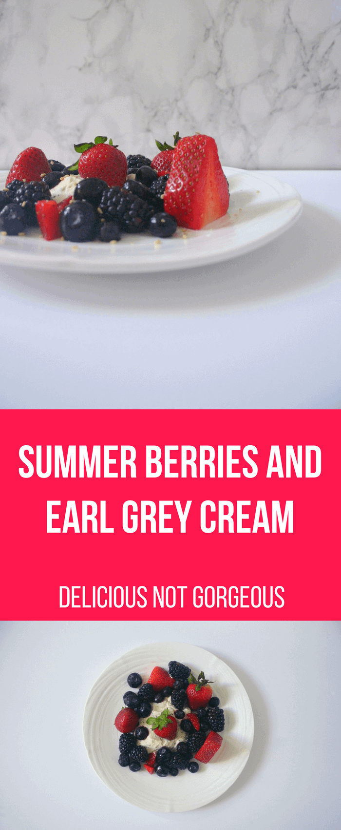 This summer berries and earl grey cream from Delicious Not Gorgeous is a great way to celebrate the fourth of July and a delicious excuse to eat more whipped cream. #berries #earlgreytea #whippedcream