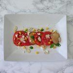 This tomato nectarine salad with tofu cream has plenty of juicy, sweet tomatoes, nectarines and watermelon involved.