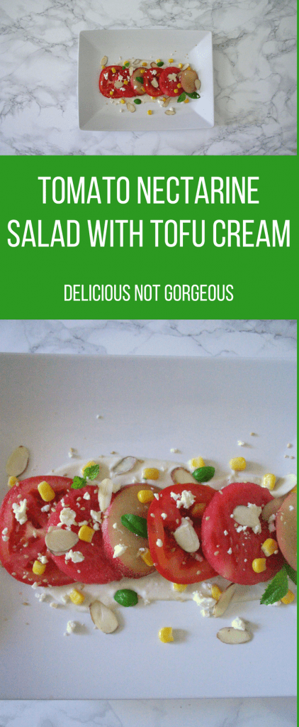 This tomato nectarine salad with tofu cream is topped with corn, basil and almonds for even more freshness and crunch.