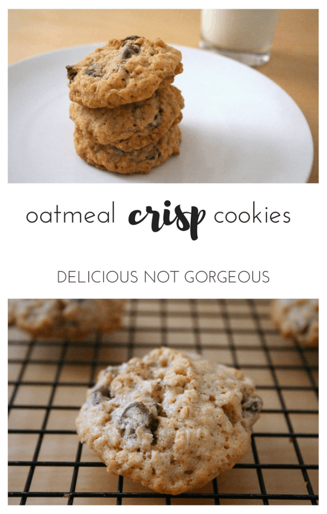 These oatmeal crisp cookies are filled with crisp rice cereal, chocolate chips, oats, walnuts and raisins, making for chewy cookies with a bit of crunch.