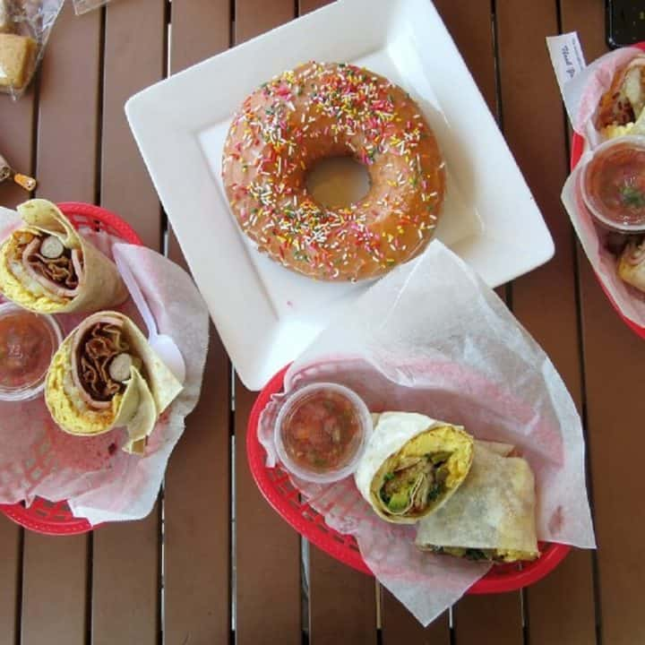 Breakfast burritos and a massive doughnut from Rose Cafe in San Jose.
