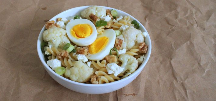 A hearty bowl of this weeknight cauliflower pasta with pecans and feta is exactly what I want on a cold night!