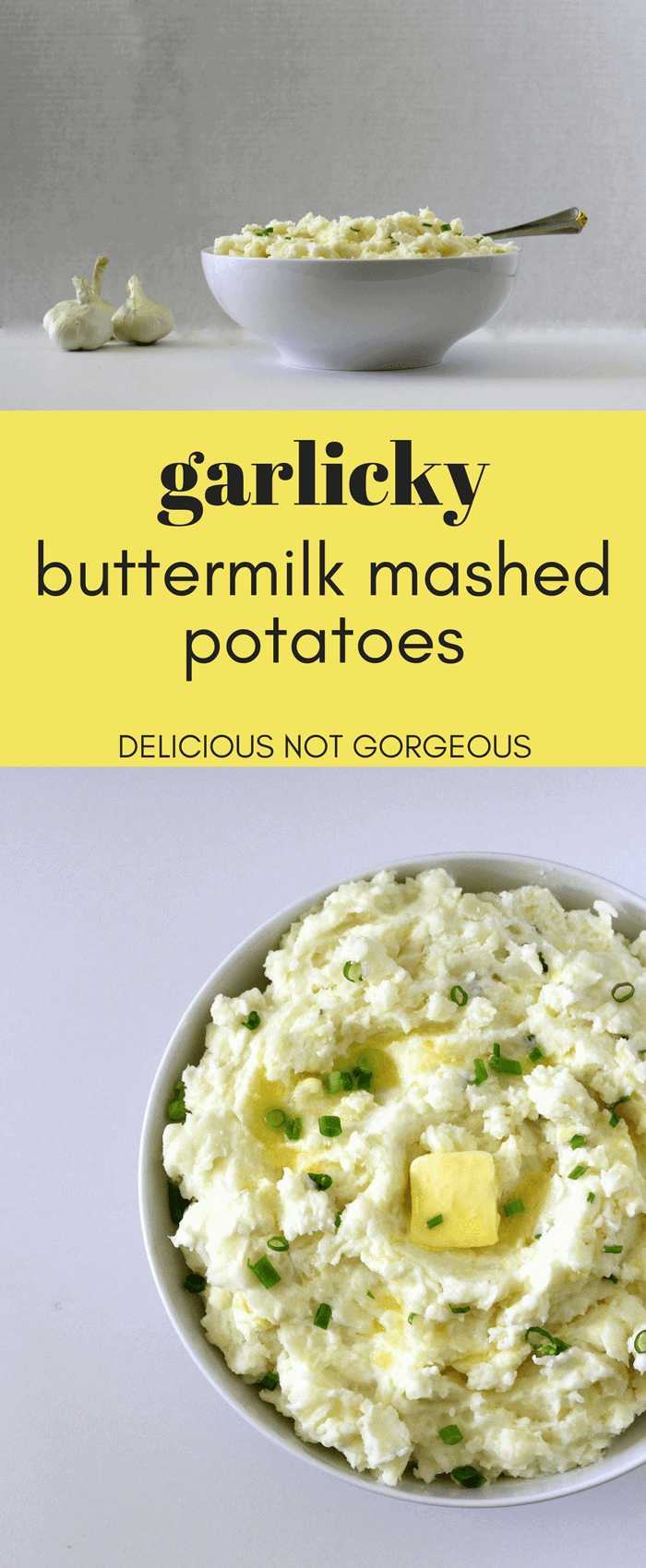 These garlicky buttermilk mashed potatoes are the perfect side for Thanksgiving (or any time, really). #thanksgiving #mashedpotatoes #garlicmashedpotatoes