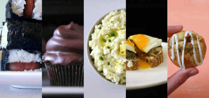 Some of the best from Delicious Not Gorgeous in 2017, including spam musubi, chocolate cupcakes, garlicky mashed potatoes and jasmine cream puffs!