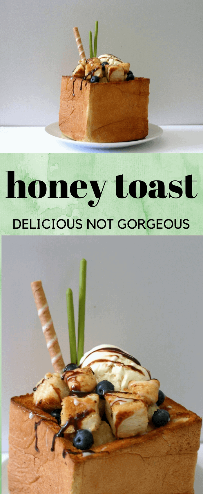 Honey toast is a buttery, honeyed dessert that takes breakfast toast and makes it dessert worthy. #honey #toast #icecream #dessert