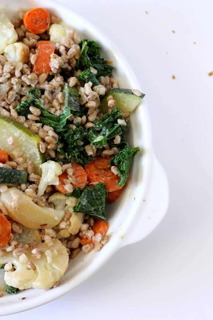 This vegetable barley bowl with coconut curry sauce is a riot of color and texture. #vegetables #barley #wholegrain #thaicurry