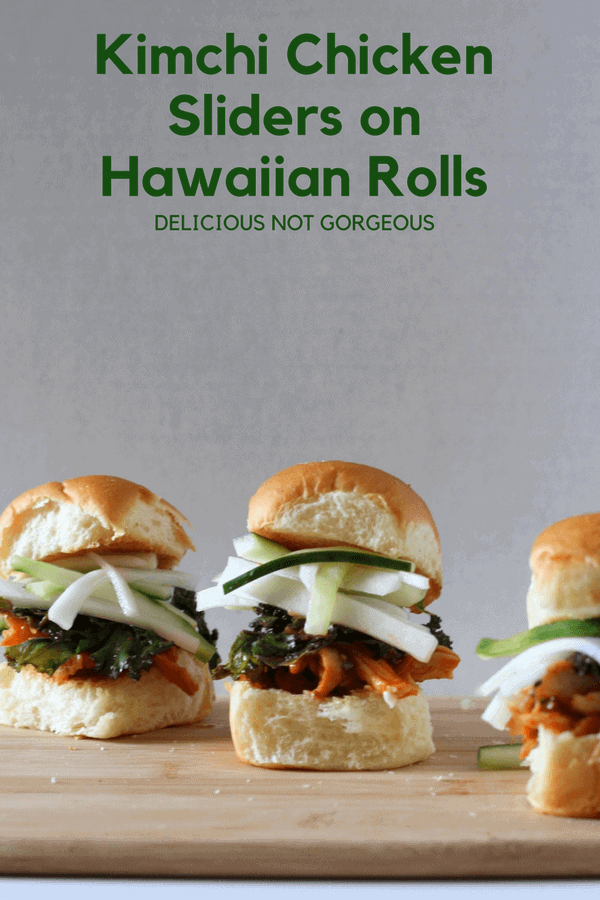 These kimchi chicken sliders on Hawaiian rolls are just as satisfying for an appetizer as they are for dinner. #kimchi #chicken #sliders #hawaiianrolls