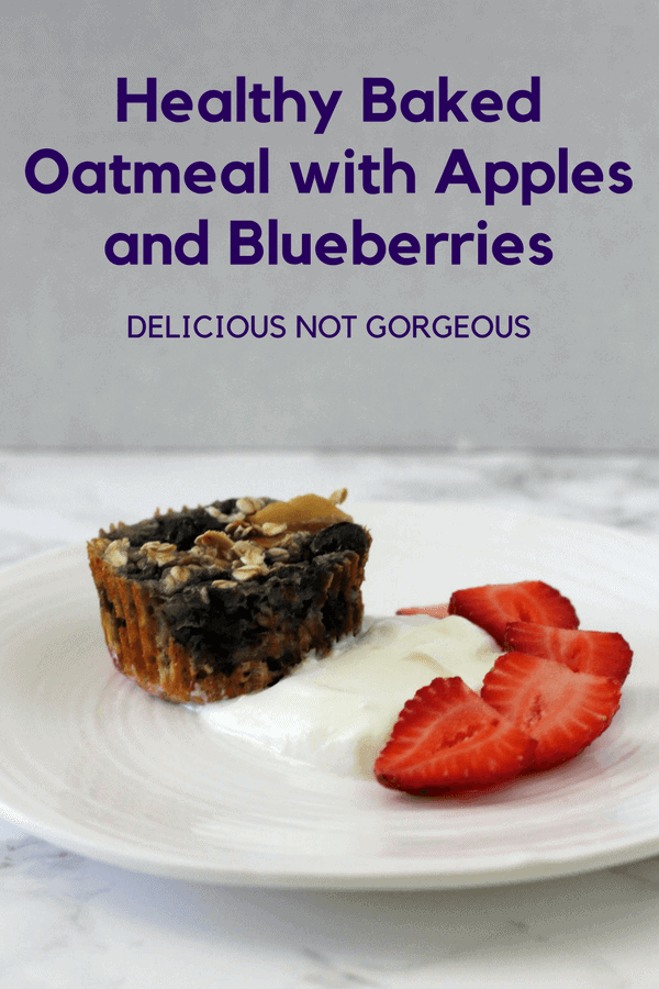 Hate how slimy normal stovetop oatmeal feels? Same. Try this healthy baked oatmeal with apples and blueberries, which has a denser, more dry texture. #bakedoatmeal #apples #blueberries #breakfast