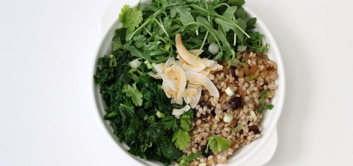 I love combining raw and cooked vegetables in my salads, and this barley kale salad with toasted coconut is no exception. #barley #kalesalad #coconut #salad