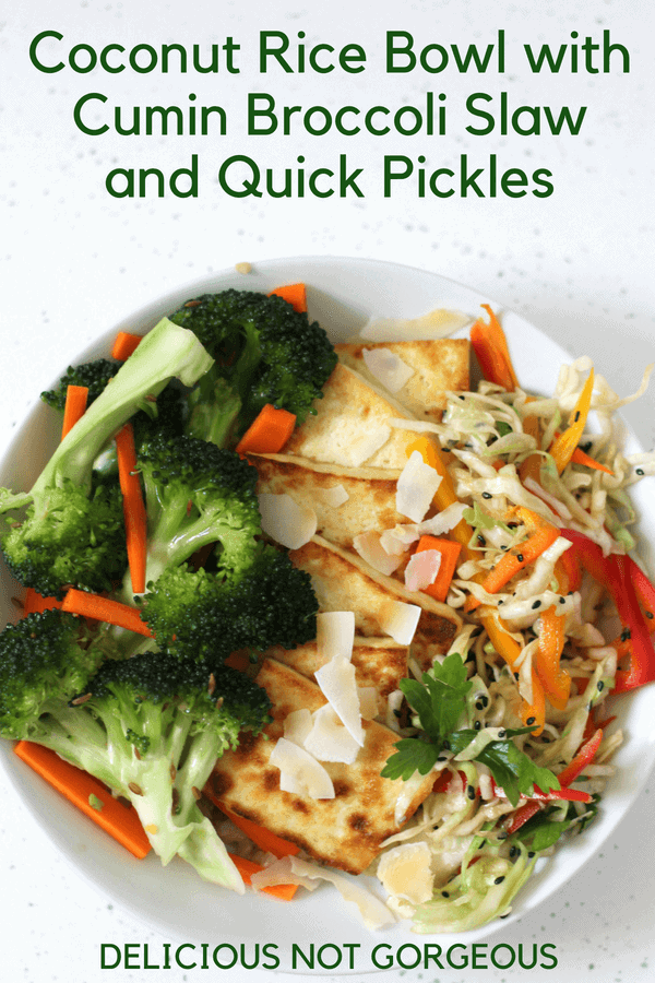 This coconut rice bowl with cumin broccoli slaw and quick pickles also has pan-fried tofu and a quick cabbage slaw. #lunchideas #ricebowl #quickpickles #tofu #vegetables